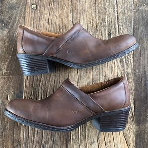 SALE b.o.c. Brown oiled leather slip on shoes 9.5